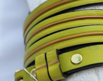 Dress leather belts , Womens leather belts, fashion belt , chartreuse belt , green belt , yellow belts , custom womens belts