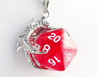 D20 Dungeons and Dragons Inspired D20 Dice Dragon Claw Pendant Necklace Red Polyhedral Gaming Nerd Lover Gift Dungeon Master Gamer Gift