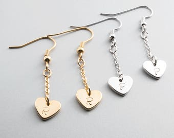 Hand stamped Lovely Heart long Earing/ 16k Gold White Gold Plated/ Customize it for any girlfriend wife mother/ Christmas Wedding gift