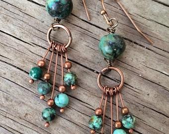 Turquoise Earrings, Boho Dangle Earrings, Bohemian Earrings, Copper Jewelry, Copper Dangle Earrings, Boho Jewelry