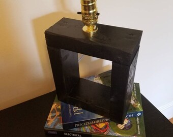 Free Shipping!! Black Hand painted Wooden Square Table Lamp