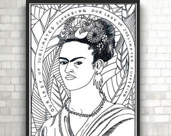 Frida coloring page Etsy