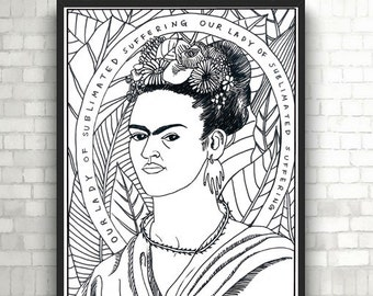 Our Lady of Sublimated Suffering, Frida Kahlo, Portraits, Coloring Pages for Adults, PDF