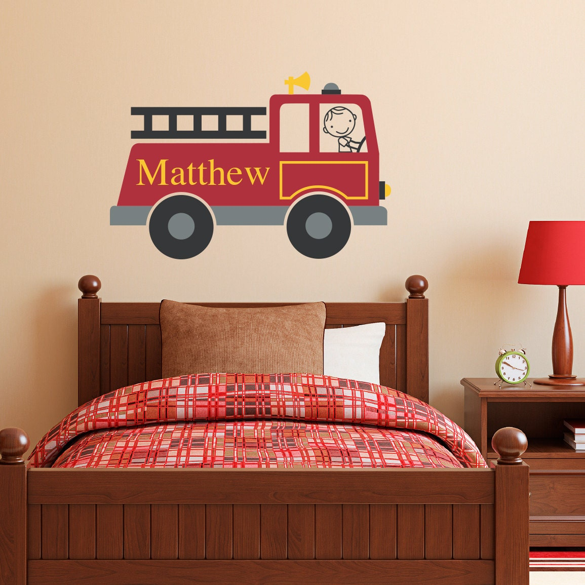 Firetruck Wall Decal Personalized Boy & Name Wall Decal