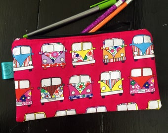 Campervan pencil case, pink zip pouch, cosmetics bag, colouring, teen gift, gift for her, gift for him, quirky, teacher gift, Vw gift