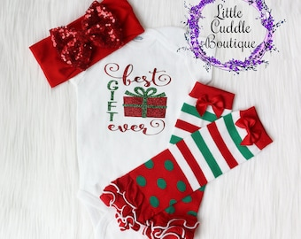 Christmas Baby Girl Outfit, Best Gift Ever Baby Outfit, Christmas Leg Warmers, First Christmas Outfit, Christmas Outfit, Christmas