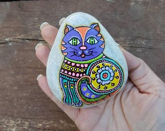 Sitting cat, abstract cat art, painted cat, painted cat rocks, cat lovers, painted rocks, cat artwork, Piedras pintadas,cat art,gift for mom