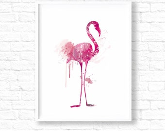 Pink Flamingo Nursery Art Print, Watercolor Flamingo, Flamingo Painting, Nursery Art Print, Flamingo Poster, Flamingo Wall Art, Pink, ET54