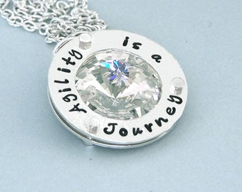 Agility is a Journey - Swarovski Crystal Necklace - Hand Stamped Sterling Silver - Affirmation Jewelry - Canine Agility Necklace