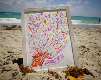 Umphrey's McGee Miami Beach Gig Poster Shell Psychedelic