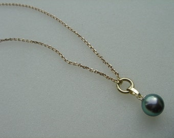 585-er Gold chain with Tahitian pearl!