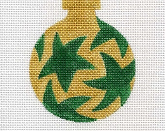 Green stars/gold background Needlepoint Ornament - Jody Designs B7F
