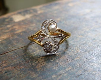Antique Nouveau French Moi and Toi Ring in 18k Pearl and Diamond Size 6.5US