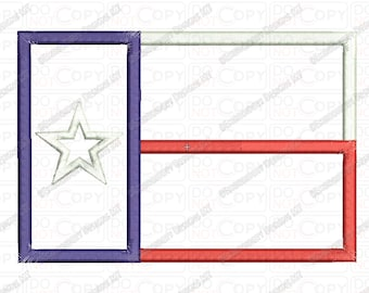 Texas TX State Flag Applique Embroidery Design in 4x4 and 5x7 Sizes
