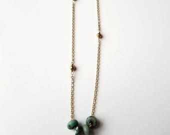 African Turquoise Rondelle Necklace