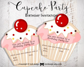 CUPCAKE PARTY Birthday party invitations - Printable digital file