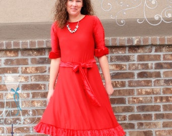 Dress - Red Velvet - Valentines Day Outfit - Swing Dress with Tie - Day to Night Look - Customizable - Modest Woman Clothes - Plus Size