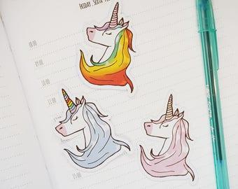 Rainbow Unicorn Die Cut Stickers - Set of 3 | Stationery for Erin Condren, Filofax, Kikki K and scrapbooking