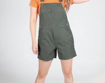 GREEN Short Cotton OVERALLS Womens Small S Sml Khaki Vintage DUNGAREES Shorts Playsuit Jumpsuit Olive Summer Utility Pockets