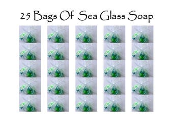 25 Bags Of Sea Glass Soap, 1.5 oz. Bag Realistic Original Handmade Soap Pieces, Party Favors, Nautical/Beach Weddings, CUSTOM ORDERS WELCOME