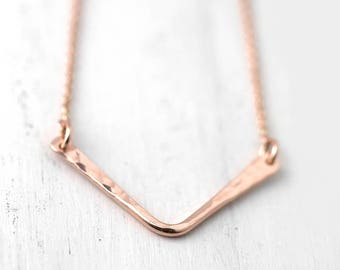 Rose Gold Filled Chevron Necklace, Modern Minimal Necklace for Women, Gift for Women, Handmade Jewelry Gifts for Mom