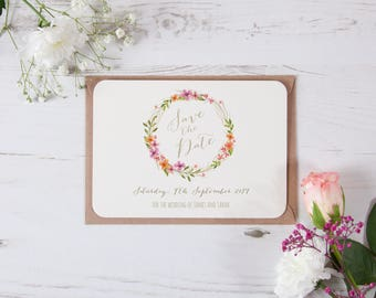 Personalised Floral Watercolour Wreath Save The Date Cards Shabby Chic Vintage Rustic