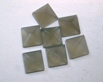 8mm GRAY Moonstone pyramid Square cabochon have lots of gorgeous..... AAA quality beautiful gray color