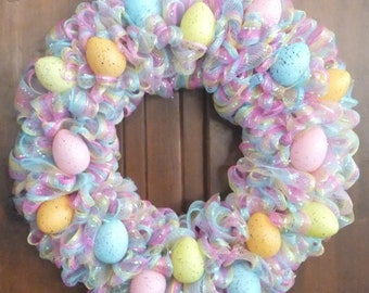 Easter Wreath with Pastel Colored Speckled Easter Eggs - Easter Deco Mesh Wreath