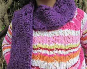 Purple Crocheted Scarf