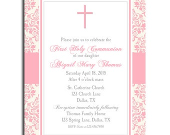 First Communion, Baptism, Dedication Invitation Printable or Printed with FREE SHIPPING- ANY Wording