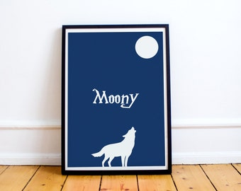 Moony Minimalist Print - Remus Lupin - Marauders Map - Harry Potter (Available in many sizes)