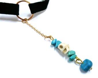 Turquoise and Skull Choker, Gemstone Necklace, Long Chain Choker, Velvet Choker, Protection Necklace, Gold O Ring Choker, Turquoise Necklace