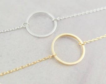 Disk Necklace | Karma double chain circle necklace | Circle Necklace | Gold Necklace | Silver Necklace | Gift | Karma | FREE GIFT WRAP