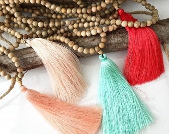 Wooden tassel necklace. Mala necklace. Yoga mala necklace. Mala tassel necklace. Minimalist Necklace. Boho Necklace