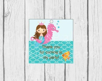 Mermaid Birthday Tags Thank You Tags Party Tags Girls Birthday Thank You Tags Set of 15 - T634
