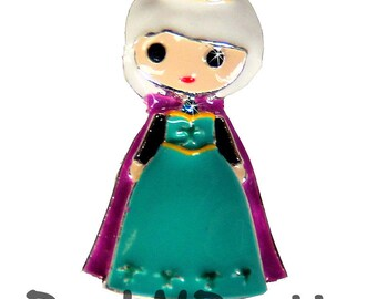 1.25 inches ONE Character Enamel Flat back Center - Queen Elsa