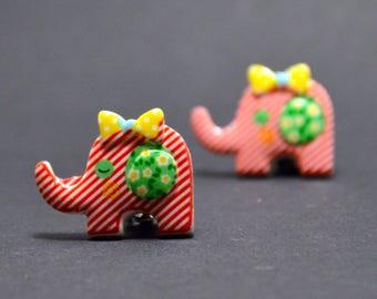 Earrings clip on red elephant