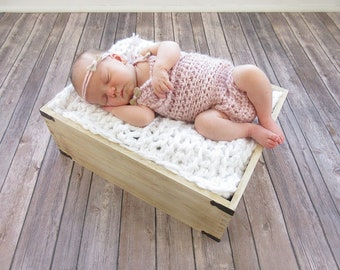 Baby Girl Romper and Tieback Set, Newborn Photo Prop Set