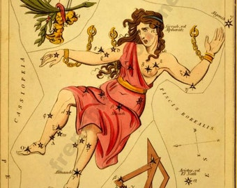 antique astronomy lithograph Gloria andromeda constellation digital download