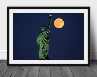 """Fine Art Photography, NYC, NJ, Liberty Park, Statue Of Liberty, Travel Photography,  """"The Lady and The Moon"""""""