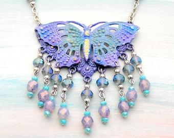 Butterfly Necklace, Purple Butterfly, Butterfly Jewelry