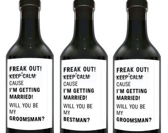 Freak OUT!, Will you be My Bestman?, Will you be My Groomsmen?, Mini Wine Bottle Label Stickers, Groomsman Proposal Set mw131