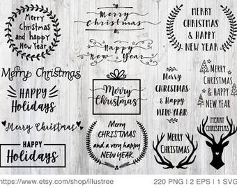 220 Christmas photo overlays, Christmas clip art for Christmas cards, black and white text overlay, commercial use, PNG, EPS, SVG, download