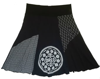 Upcycled T-Shirt Skirt Women's Medium Large 8 10  Black and White Hippie Skirt recycled top selling items on Etsy Twinkle Skirts Twinklewear
