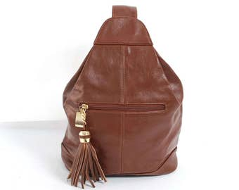 TRIANGLE brown leather 80s 90s KNAPSACK grunge convertible BACKPACK