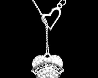 Class Of 2018 Crystal Heart Graduation Gift Charm Heart Lariat Necklace