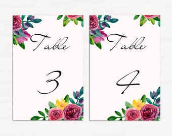 Wedding table numbers printable DIY Wedding table decor Romantic wedding Table number cards Watercolor wedding Table number download 1W56