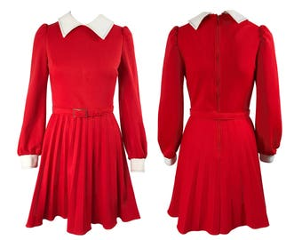 Vintage Red 1960s Pleated School Girl Day Dress Mini Long Sleeve Collar