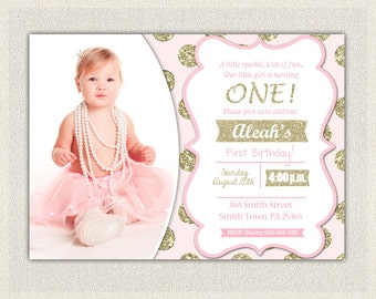 Pink and Gold Birthday Invitation Polka Dots Glitter Princess First Birthday Invite 1st Baby Girl Digital Custom Pink and Gold Invites