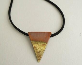 Copper and brass pendant, triangle